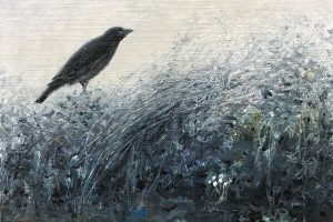 Crow and snowdrops – SOLD